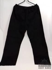 Calça em brim preto bolso chapado