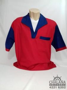 Camisa em brim vermelho gola italiana