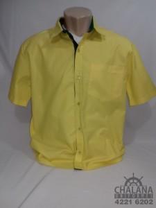 Camisa social amarela com detalhes verde