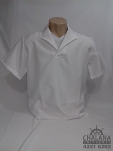 Jaleco branco gola italiana